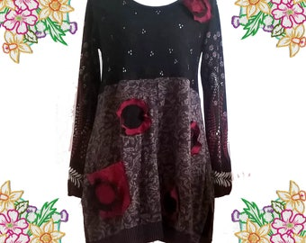 Sweater Dress with floral detail and big pocket. Black, Red, Taupe. Soft Jersey KNits. Fall / Winter.  Upcycled Unique Clothing.