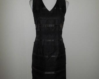 Vintage 90s dress / silk lace black dresses / size small