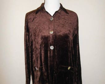 Closing Shop 40%off SALE Vintage 90s Beautiful soft velvet brown   blouse cover up    button up      clothing clothes
