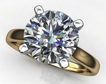 sabra ring – 2 carat round cut NEO moissanite engagement ring, two tone ring