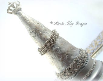 Crown Jewelry Box Bracelet Tree Glass Crystal Rhinestones Sculpted One-of-a-kind Mixed Assemblage Sculpture Lorelie Kay Original