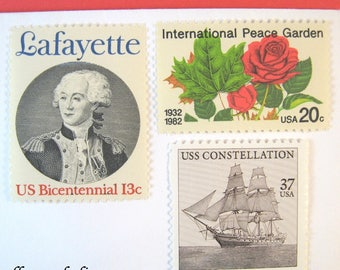 Wedding Postage Stamps, Vintage Sailing Ship - Red Roses - Lafayette - Inkwell, Mail 20 Invitations 2 oz 71 cents, French nautical romantic