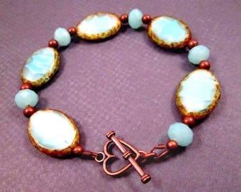Picasso Bracelet, Aquamarine Blue, Copper Beaded Bracelet, FREE Shipping U.S.