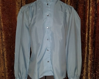 30% OFF Vintage 1970's Powder Blue High Collar Ruffle Blouse Top M/L