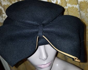 Vintage 1930's 40's Ladies Black Wool Felt Tilt Hat w/Big Bow, Union Label, Amazing!