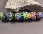 Handmade Lampwork Bead Set by Monaslampwork - Dotted Focal and Others - Multiple dots, enamels, and color Handmade by Mona Sullivan Glass
