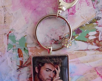 George Michael, key ring with bling...gift boxed ...READY to SHIP, music artist George Michael, rock star, music icons