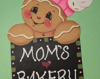 Hand Painted Mom's Bakery Chef  Fridge Magnet, painted by Marty Kaatz, pattern by Pamela House