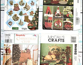 Chirstmas decorations, stocking, bottle cover, and more sewing patterns Simplicity 4810,  McCall's M5546, Simplicity 4842, McCall's M4692