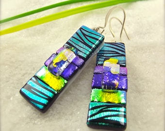 Bohemian jewelry, Dichroic Earrings, fused glass earrings, fused dichroic earrings,handmade jewelry, women's jewelry, dichroic, glass fusion
