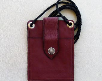 Leather Smart Phone Carrier, Leather Cross Body Bag,  Cell Phone Tote Bag, Hands Free Phone Bag