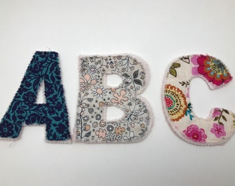 Fabric Alphabet Letter with Cinch Bag