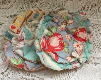 2 upcycled fabric flowers, cottage chic flower, gift top, lot flower supplies scrap flowers shabby upcycled quilt flower scrap appliques #47