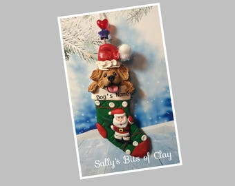 READY to SHIP! Golden Retriever dog in Christmas Stocking Ornament by Sally's Bits of Clay Personalized with dog's name