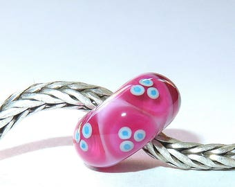 Luccicare Lampwork Bead - Pink X -  Lined with Sterling Silver