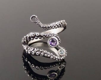 SALE Wicked tentacle ring amethyst and topaz, Wedding Band, Engagement Ring, Occasion