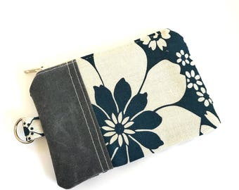 Change Purse No. 1 in Navy Flowers and Waxed Canvas