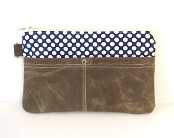 Clutch No. 1 in Navy Dots and Dark Brown Waxed Canvas