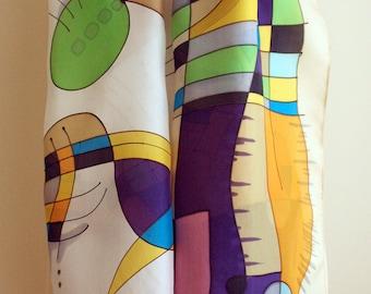 Handpainted Silk Scarf. Kandisky style. Hand painted Silk Shawl. Wedding. Giveaways. Silk Art.Woman. 18x71in (180x45cm)