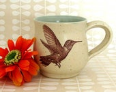 Stoneware Mug - Rufous Hummingbird -  14 oz - Ready to Ship - Hand Thrown Stoneware