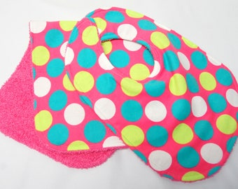 Baby Girl Bib and Burp Cloth, Baby Shower Gift, Welcome Baby Gift, New Mom Gift: Large Polka Dots on Pink