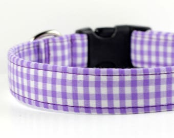 Personalized Gingham dog collar, Personalized Dog collar optional, Engraved Collar available,  Purple Gingham