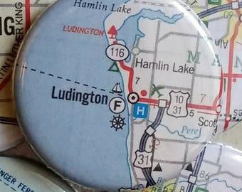 Ludington Michigan map magnet