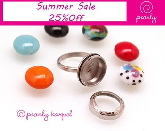 interchangeable ring,DIY Stainless Steel Bead holder, ring bead changeable, jewelry supplies, 317L Stainless Steel, beadable ring