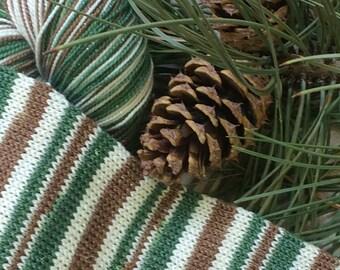 "Sparkly winter yarn - ""Frosty Evergreen Stripe"" sock yarn"