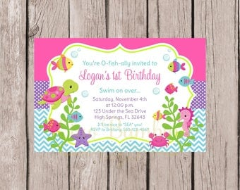 PRINTABLE Under the Sea Birthday Party Invitation / Under the Sea Party / Pink, Purple, Lime Green and Blue / You Print - 0022
