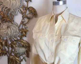Fall sale 1950s blouse H Bar C western blouse 50s blouse rockabilly shirt size medium Vintage shirt yellow shirt cotton shirt button up