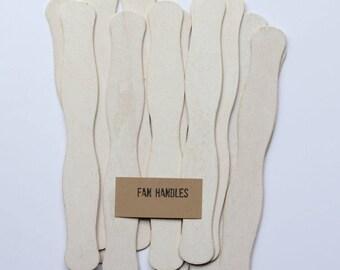 75 Wedding Program Fan Sticks - White Wash Fan Handles - Wavy Ceremony Fan Handles - Wooden Fan Sticks - F01