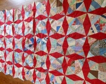 "Vintage Quilt Top Paper Pieced @52""x 82"""