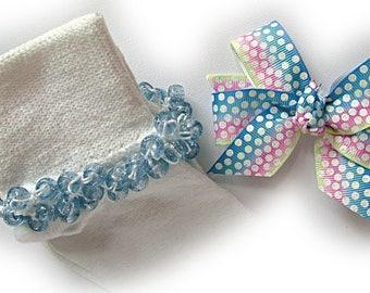 Kathy's Beaded Socks - Ombre Glitter Dots Socks and Hairbow, school socks, pony bead socks, light blue glitter pony beads, ombre socks