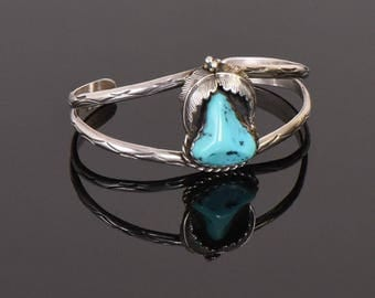 Vintage Turquoise and Sterling Silver Handmade Navajo Cuff Bracelet