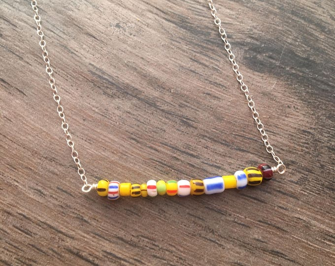 Antique Seed Beads on a Sterling Silver Bar Necklace Yellow Gift