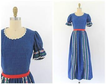 vintage 1970s denim peasant maxi dress   70s blue denim ruffle sleeve folk dress   vtg maxi dress   XS / small