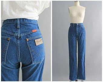 """vintage Wrangler jeans   vintage 1970s high waist straight leg jeans   vtg 70s womens denim   XS   26"""" waist"""
