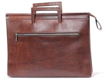 Retro Laptop Case Mac Book Air 70s Schoolboy Brown Faux Leather Professor Document Briefcase Urban Indie Retro Bag Men Boyfriend Gift