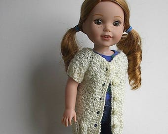 """14.5"""" Doll Clothes Knit Dress Tunic Long Sweater Handmade to fit Wellie Wishers dolls - Cream Dress Tunic or Long Sweater with five buttons"""
