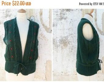 ON SALE Vintage 1970/70s Tyrol trachten Folk  knitted vest embroidered cardigan dirndl size M/L