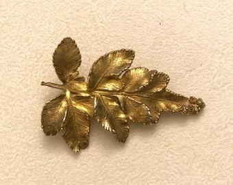 Vintage Flora Danica Sterling 925 Eggert Denmark Leaf Brooch with Gold Overlay