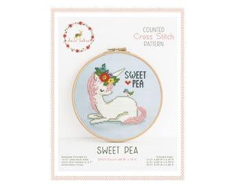 Counted Cross Stitch Pattern - Sweet Pea / unicorn cross stitch pattern, embroidery, pattern, gift, supply, instruction, tween gift, bird