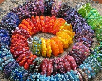 """Handmade Glass Lampwork disc disk Beads """"Rainbow"""" filler focal glass art"""