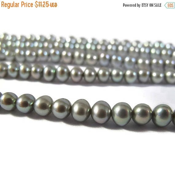 Summer SALEabration - Iridescent Freshwater Pearls, Genuine Pearl Beads, 3.5-4.5mm Round Potato Pearls for Jewelry Making, 16 Inch Strand, 1