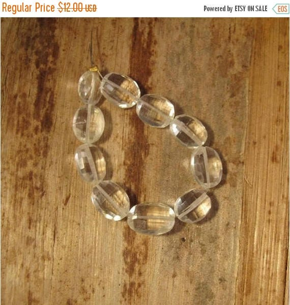 Summer SALEabration - 10 Crystal Beads, Sparkling Rock Crystal Quartz, Faceted Flat Ovals for Making Jewelry, 11mm x 8mm (S-Cq2a)