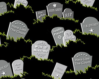 New GLOW IN the DARK Fabric from Henry Glass, Fangtastic Glow, Tombstones on black,  yard