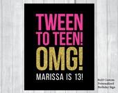 SALE Custom Printable 8x10 Tween To Teen Girl's 13th Thirteen Birthday Sign - Black, Hot Pink and Gold Glitter - Digital Download
