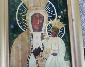 Czechoslovakian Madonna and Child picture frame
