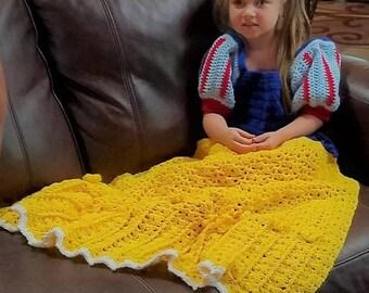 Fairy Tale Princess Dress Blanket - Crochet Pattern - PDF pattern, Digital file